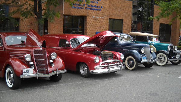 Courtesy of Frank Bradley Vintage automobiles on display at a past show in downtown New Britain.
