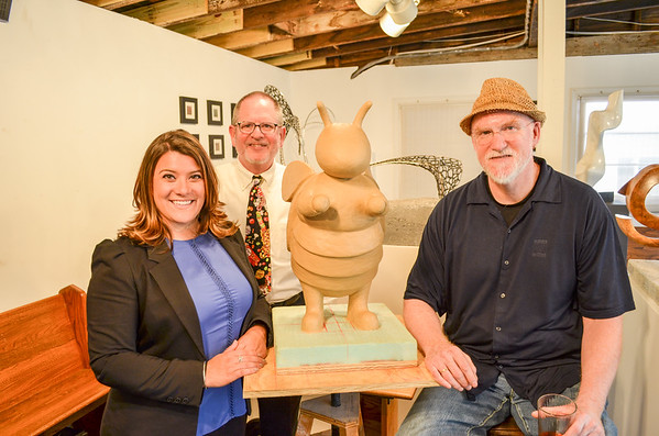 Photo by David Huck From left, Stephen Hard, Executive Director of the Greater New Britain Arts Alliance and Chairman of the New Britain Arts Commission; Mayor Erin Stewart; Artist Craig Frederick. Photo taken by David Huck / City of New Britain.