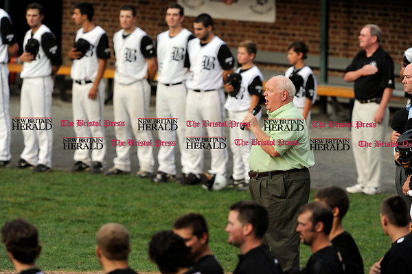 8/3/2010 Mike Orazzi | Staff Ken Ferris sings the Star Spangled Banner before the start of the NECBL game between Bristol and Danbury at Muzzy Field on Tuesday night.