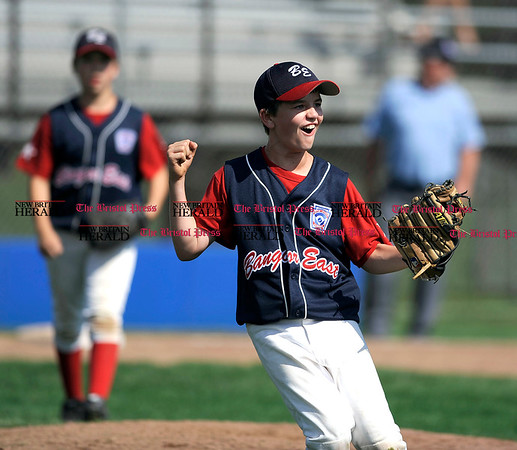 8/6/2010 Mike Orazzi | Staff Maine's Ryan Brookings (15) celebrates after a 6-4 win over Massachusetts during game two at the 2010 Eastern Regional Little League Tournament in Bristol on Friday, August 6, 2010.