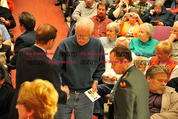 Rob Heyl Senator Elect Richard Blumenthal gives the Wartime Medal to David Anderson from Berlin. 12.14.10 for 12.15.10