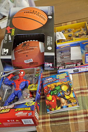 Chris Richie | Staff A collection of donated toys for the New Britain Friendship Center, at St. Mark's Episcopal Church. (12/13/10)