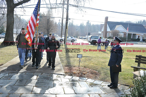 Rob Heyl In the Terryville &quote;Wreaths across America&quote; ceremony the Color Guard from American Legion Post 20 posts the colors as Civil Air Patrol Major Brian Romano stands at attention. 12.11.10 for 12.12.10