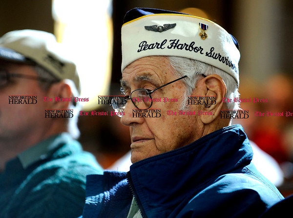 11/11/2010 Mike Orazzi | Staff Pearl Harbor Survivor Ed Riccio during the Veterans Day ceremony at the Memorial Blvd. School in Bristol on Thursday morning.