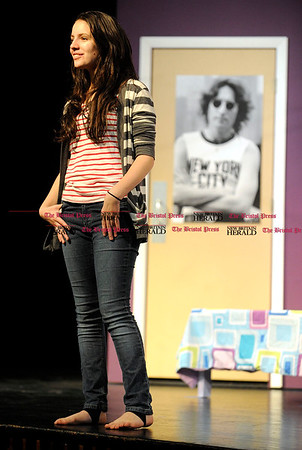 11/9/2010 Mike Orazzi | Staff Marisa Mastrio rehearses for John Lennon and Me at St. Paul Catholic High School on Tuesday night.