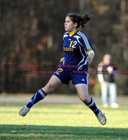 11/3/2010 Mike Orazzi | Staff Gilbert's Rachel Wendel (12) during Wednesday's soccer match with Terryville at the Fisher Middle School.