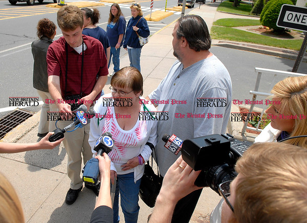6/2/2009 Mike Orazzi | Staff Arlene Waye, talks with members of the media after Robert Park's his arraignment on Tuesday in Bristol Superior Court.