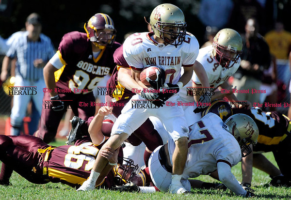 10/2/2010 Mike Orazzi | Staff New Britain's Luis Colon (20) at South Windsor High School on Saturday.
