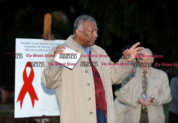 10/6/2010 Mike Orazzi | Staff Frederick Smith, Director of Health and Wellness Division of Health and Resources Division in New Britain during the Wednesday night's 19th annual non-denominational ceremony on HIV/AIDS at the Federal Hill Green on Wednesday evening.