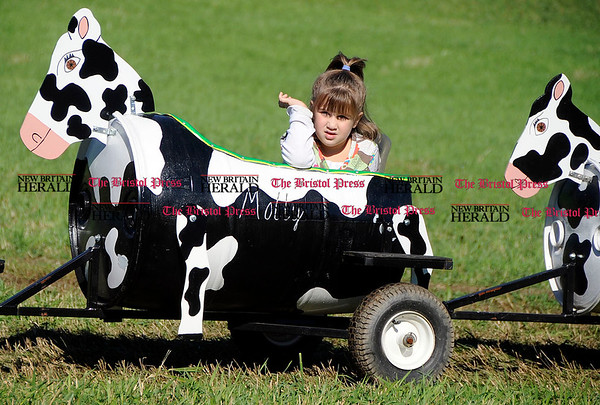 10/2/2010 Mike Orazzi | Staff Alyssa Ouellette,5, Plantsville, rides in a cow cart at Minor's Farm during Family Farms Day on Saturday.