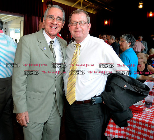 8/31/2010 Mike Orazzi | Staff State Rep. Frank Nicastro and Bristol Mayor Art Ward while at the Crocodile Club, the oldest eating club in the country, which was started in 1875 by the Norton family ancestor and former state lawmaker Gad Norton, who founded Lake Compounce.
