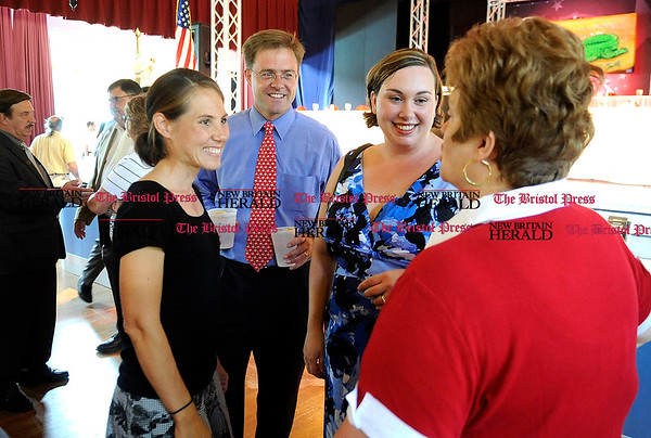 8/31/2010 Mike Orazzi | Staff Elizabeth Welch, her husband Jason, Kate Matthews and Betty Boukus while at the Crocodile Club, the oldest eating club in the country, which was started in 1875 by the Norton family ancestor and former state lawmaker Gad Norton, who founded Lake Compounce.