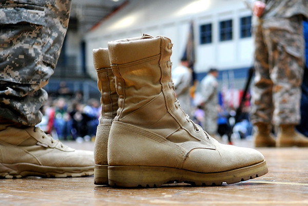 2/12/2011 Mike Orazzi | Staff Any empty pair of boots among the approximately 600 soldiers from the 1st Battalion, 102nd Infantry Regiment, headquartered in New Haven honored in a formal welcome home ceremony at the William A. ONeill Armory in Hartford on Saturday, February 12, 2011.