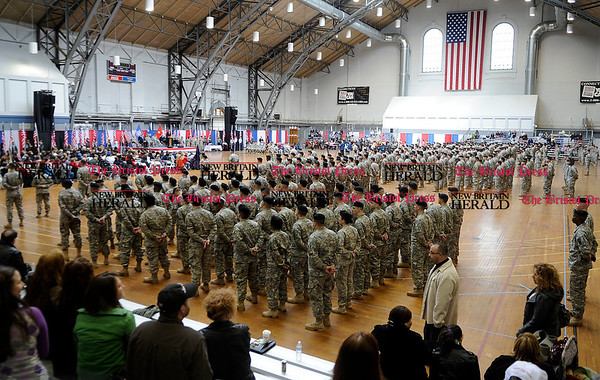 2/12/2011 Mike Orazzi | Staff Some of the approximately 600 soldiers from the 1st Battalion, 102nd Infantry Regiment, headquartered in New Haven honored in a formal welcome home ceremony at the William A. ONeill Armory in Hartford on Saturday, February 12, 2011.