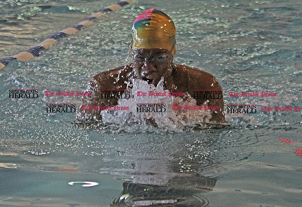 Samantha Burr Bristol's Kyrell Clemons swims the breast stroke in the 200 Medley Relay during the meet Friday afternoon. (2/11/11)