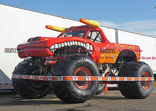 Chris Richie | Staff Monster truck El Toro Loco on display outside of Advanced Auto Parts in New Britain. The truck will be at Monster Jam at the XL Center in Hartford this Saturday. (2/11/11)