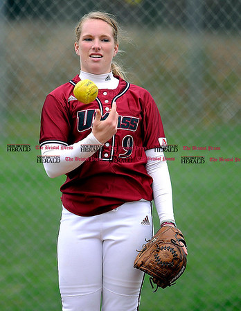 4/23/2009 Mike Orazzi | Staff UMass' Sara Plourde (9) during a 6-4 win over UConn in Storrs on Thursday.