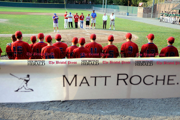 7/7/2010 Mike Orazzi | Staff A sign for Matt Roche, the Bristol American Legion baseball player, who passed away after a fall on June 23. In honor of his No. 7, there was a special admission price of $7. Proceeds will be used to benefit the Roche family in Matts honor.