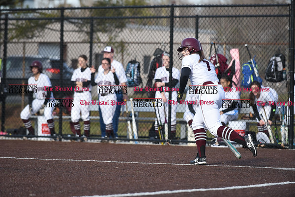 040317 Wesley Bunnell | Staff New Britain softball vs Bristol Central at Chesley Park in New Britain on Monday April 3, 2017. The game was scheduled to be played at Bristol but changed to New Britain due to field conditions with Bristol playing as the home team.