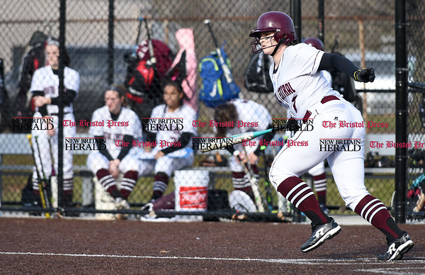 040317 Wesley Bunnell | Staff New Britain softball vs Bristol Central at Chesley Park in New Britain on Monday April 3, 2017. The game was scheduled to be played at Bristol but changed to New Britain due to field conditions with Bristol playing as the home team. Bristol Central's Ali Holden (7) at bat.