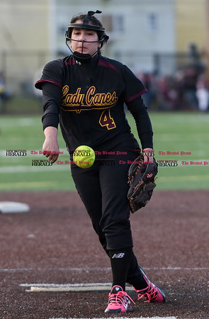 040317 Wesley Bunnell | Staff New Britain softball vs Bristol Central at Chesley Park in New Britain on Monday April 3, 2017. The game was scheduled to be played at Bristol but changed to New Britain due to field conditions with Bristol playing as the home team. Gianna Gonzales (4).
