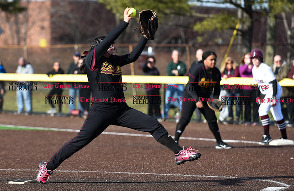 040317 Wesley Bunnell | Staff New Britain softball vs Bristol Central at Chesley Park in New Britain on Monday April 3, 2017. The game was scheduled to be played at Bristol but changed to New Britain due to field conditions with Bristol playing as the home team. Gianna Gonzales (4) pitching.