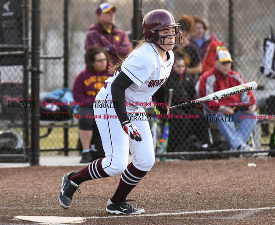 040317 Wesley Bunnell | Staff New Britain softball vs Bristol Central at Chesley Park in New Britain on Monday April 3, 2017. The game was scheduled to be played at Bristol but changed to New Britain due to field conditions with Bristol playing as the home team. McKenzie Lewis (12) at bat.