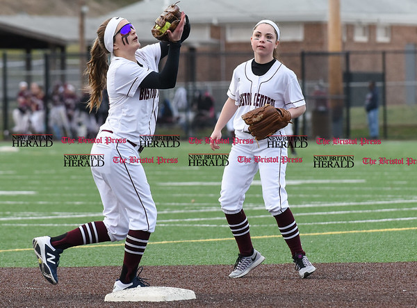 040317 Wesley Bunnell | Staff New Britain softball vs Bristol Central at Chesley Park in New Britain on Monday April 3, 2017. The game was scheduled to be played at Bristol but changed to New Britain due to field conditions with Bristol playing as the home team. Peyton Greger (10) fields an infield fly ball.