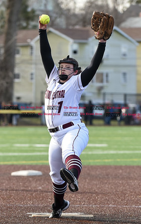 040317 Wesley Bunnell | Staff New Britain softball vs Bristol Central at Chesley Park in New Britain on Monday April 3, 2017. The game was scheduled to be played at Bristol but changed to New Britain due to field conditions with Bristol playing as the home team. Ali Holden (7).