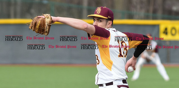 040717 Wesley Bunnell | Staff New Britain High School baseball defeated E.C. Goodwin Tech in a game played at CCSU on Friday afternoon. Alex Silva (13).