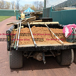 041017  Wesley Bunnell | Staff  Stadium preparation continues at the home of the New Britain Bees on Monday April 10.  A tractor full of infield dirt sits near the home dugout.