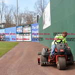 041017  Wesley Bunnell | Staff  Stadium preparation continues at the home of the New Britain Bees on Monday April 10.  Nick Tetro rides a tractor filling in low spots on the outfield warning ...