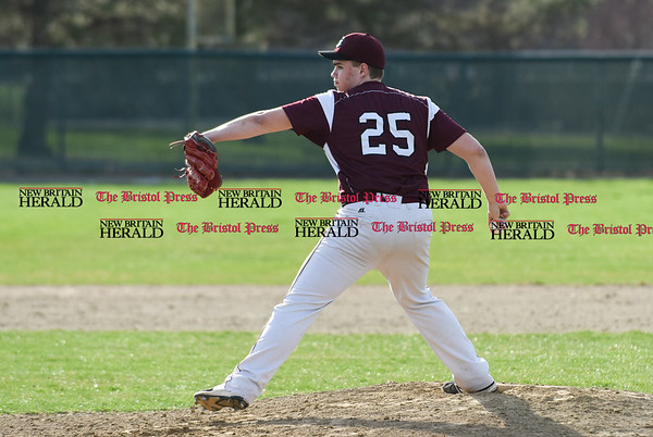 041017 Wesley Bunnell | Staff New Britain High School baseball defeated Bristol Central on Monday afternoon in a game played at Beehive Field. Bristol Central #25 delivers.