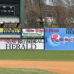 041017  Wesley Bunnell | Staff  Stadium preparation continues at the home of the New Britain Bees on Monday April 10.  Tractors ride across the left field warning track filling in low spots  ...