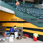 041017  Wesley Bunnell | Staff  Stadium preparation continues at the home of the New Britain Bees on Monday April 10.  Workers go row by row making small repairs to the concrete surfaces.