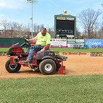 041017  Wesley Bunnell | Staff  Stadium preparation continues at the home of the New Britain Bees on Monday April 10.  Nick Tetro uses a riding tractor to help fill in low spots in the infie ...