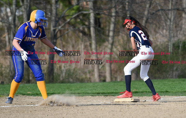 041717 Wesley Bunnell | Staff St. Paul softball was defeated by Seymour on Monday afternoon. Janessa Gonzalez (24) forces a Seymour runner off 3rd for the final out of an inning.