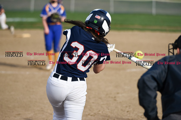 041717 Wesley Bunnell | Staff St. Paul softball was defeated by Seymour on Monday afternoon. Jess Persechino (30).