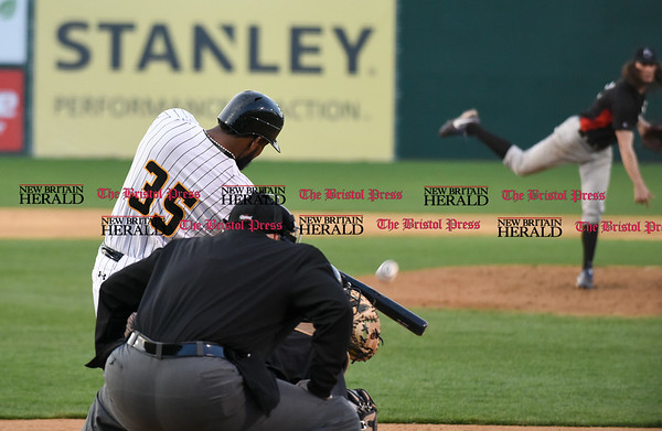 041717 Wesley Bunnell | Staff New Britain Bees vs the Blacksox in an exhibition game on Monday April 17. Jovan Rosa (35).
