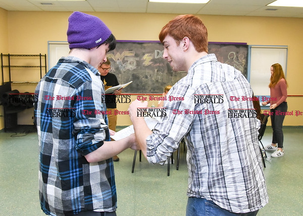 041017 Wesley Bunnell | Staff The New Britain-Berlin YMCA is holding acting classes at the Main St. Berlin location for two upcoming plays The Prince and the Pauper and Romeo & Juliet. Rehearsing Romeo & Juliet are Killian Meehan, left, and Jared Colandrea.