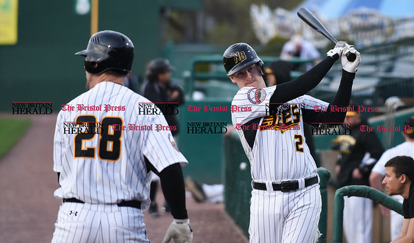 041717 Wesley Bunnell | Staff New Britain Bees vs the Blacksox in an exhibition game on Monday April 17. Jake McGuiggan (2)