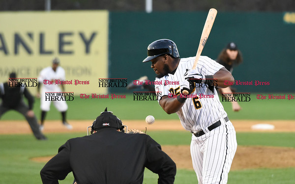 041717 Wesley Bunnell | Staff New Britain Bees vs the Blacksox in an exhibition game on Monday April 17. Jamar Walton (6) moves out of the way on an inside pitch.