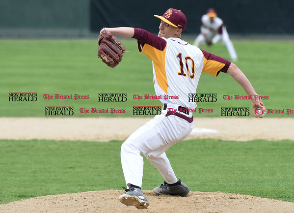 041917 Wesley Bunnell | Staff New Britain High School baseball defeated Southington 7-5 on Wednesday afternoon. Will Homar (10)