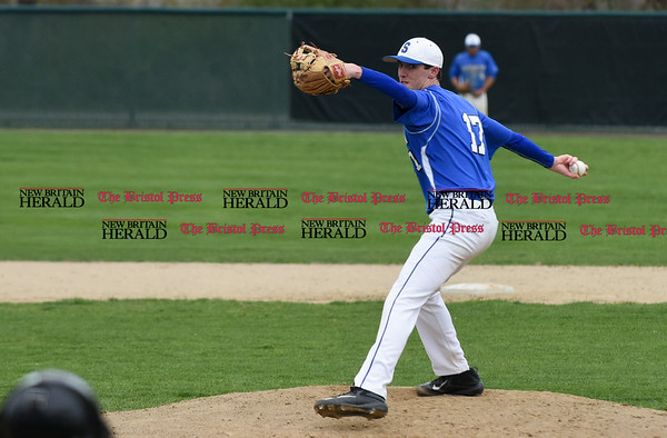 041917 Wesley Bunnell | Staff New Britain High School baseball defeated Southington 7-5 on Wednesday afternoon. Ryan Sheehan (17)