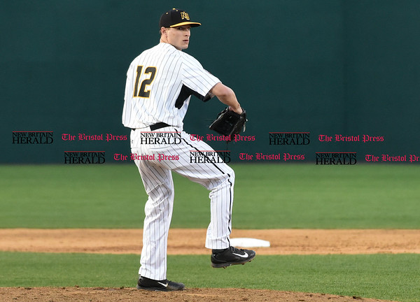041417 Wesley Bunnell | Staff Anthony Marzi (12) pitching in the New Britain Bees 2nd exhibition game of the pre season on April 14.