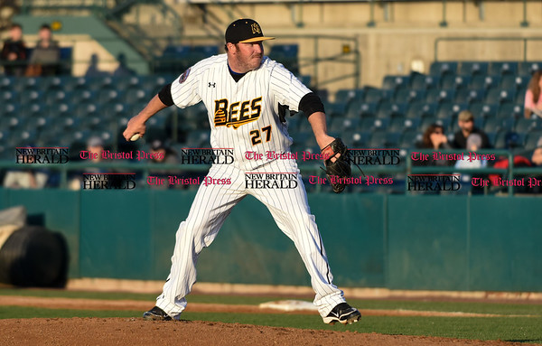 041417 Wesley Bunnell | Staff New Britain Bees in their second exhibition game of the pre season on April 14 against the Greater Hartford Twilight League All Stars. Jason Jarvis (27)