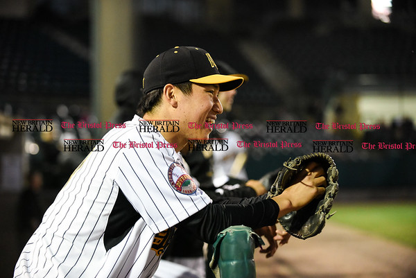 041417 Wesley Bunnell | Staff New Britain Bees in their second exhibition game of the pre season on April 14 against the Greater Hartford Twilight League All Stars. Keisuke Kubota (17)