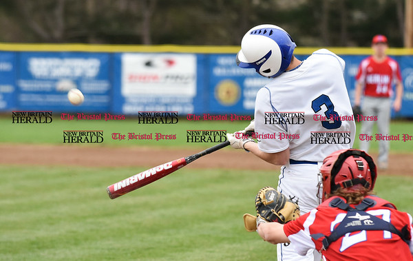 042417 Wesley Bunnell | Staff Southington High School baseball defeated Berlin on Monday afternoon in a game played at Southington. Southington batter Jake Babon makes contact for a hit.