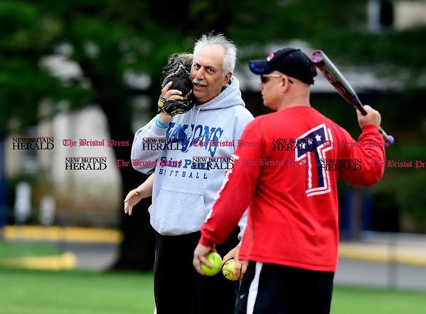4/27/2017 Mike Orazzi | Staff St. Paul softball coach Gary Hovhanessian Thursday in Bristol.