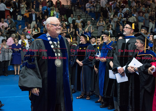 051916 Wesley Bunnell | Staff CCSU held their 2016 Graduate School Commencement Exercises on Thursday evening in Kaiser Hall. Faculty exits the stage as pomp and circumstance plays. President John W. Miller in his last year as CCSU President gave the commencement speech.